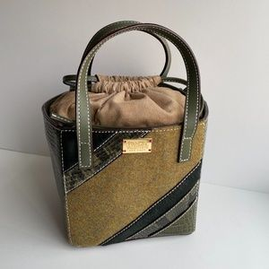 Frances Valentine Olive Leather Snakeskin Tote